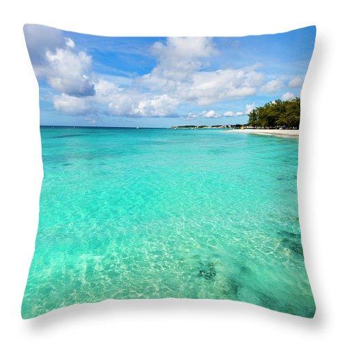 Water's Edge Throw Pillow featuring the photograph Miami Beach, Barbados by Flavio Vallenari