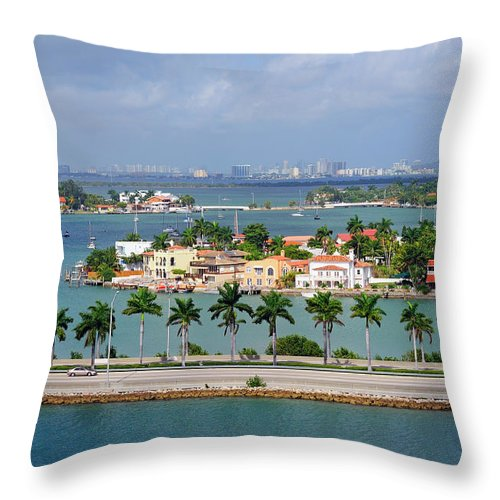 Trading Throw Pillow featuring the photograph Miami Mac Arthur Causeway En Route To by Jfmdesign