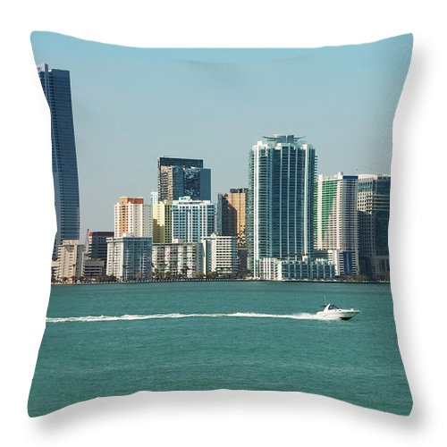 Downtown District Throw Pillow featuring the photograph Miami Skyline - Verical by Thepalmer