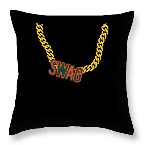 Chain Throw Pillow featuring the digital art Miami Swag Gold Chain Necklace by Mike G