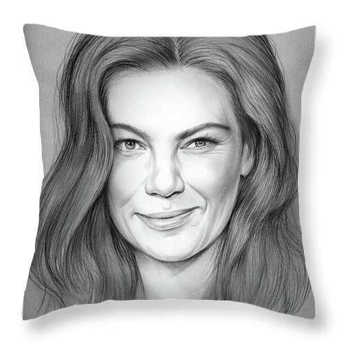 Michelle Monaghan Throw Pillow featuring the drawing Michelle Monaghan by Greg Joens