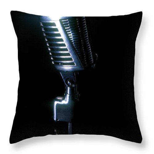 Rock Music Throw Pillow featuring the photograph Microphone by Braddy