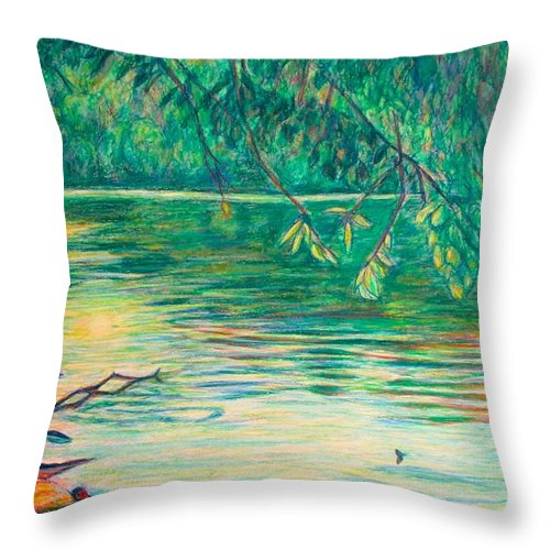 Landscape Throw Pillow featuring the painting Mid-Spring on the New River by Kendall Kessler