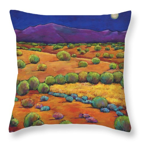 Contemporary Southwest Throw Pillow featuring the painting Midnight Sagebrush by Johnathan Harris