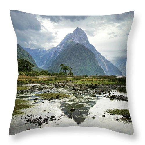 Tranquil Scene Throw Pillow featuring the photograph Milford Sound, South Island, New Zealand by Ed Freeman
