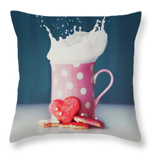 Milk Throw Pillow featuring the photograph Milk And Heart Shape Cookies by Julia Davila-lampe