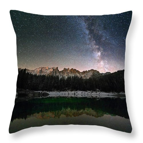 Scenics Throw Pillow featuring the photograph Milky Way In The Alps by Scacciamosche