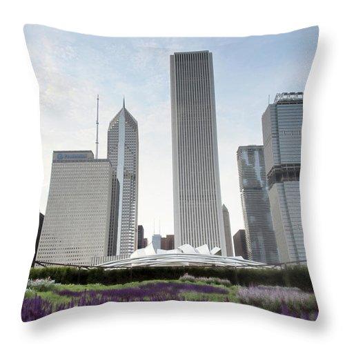 Millennium Park Throw Pillow featuring the photograph Millennium Park by By Ken Ilio