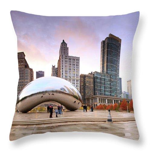 Dawn Throw Pillow featuring the photograph Millennium Park, Chicago, Illinois,usa by Travelpix Ltd