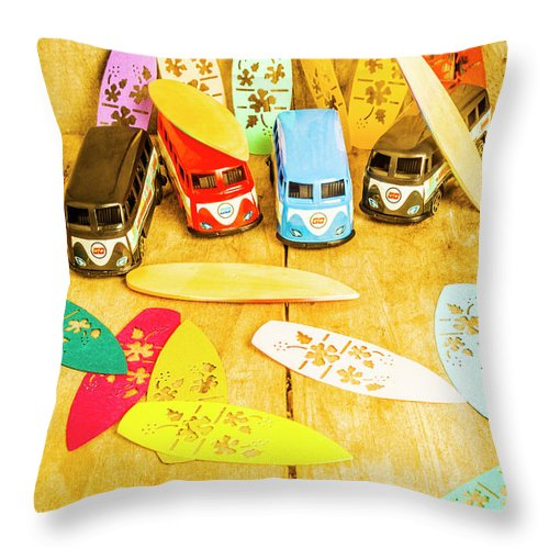 Summer Throw Pillow featuring the photograph Mini Van Adventure by Jorgo Photography - Wall Art Gallery