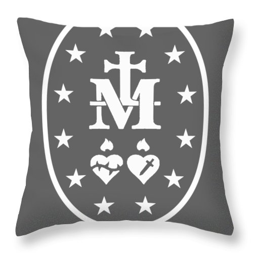 men's Novelty Hoodies Throw Pillow featuring the digital art Miraculous Medal Hoodie Catholic Virgin Mary Sacred Heart by Do David