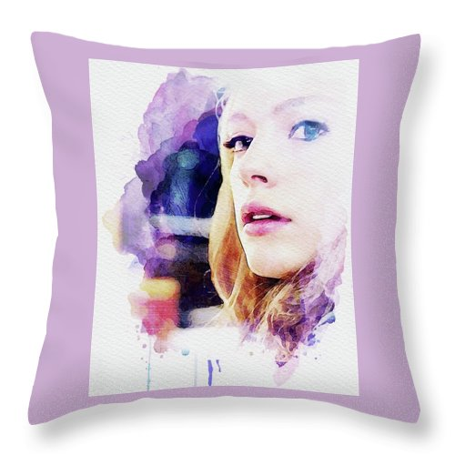 Wonder Throw Pillow featuring the mixed media Miranda by Shehan Wicks