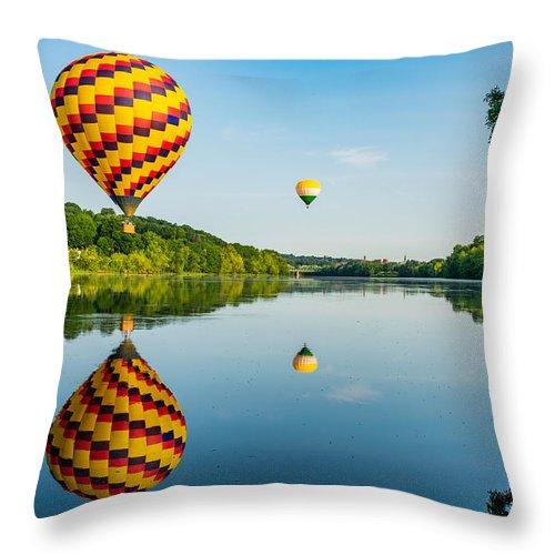 Hot Air Balloon Throw Pillow featuring the photograph Mirror Image by Richard Plourde