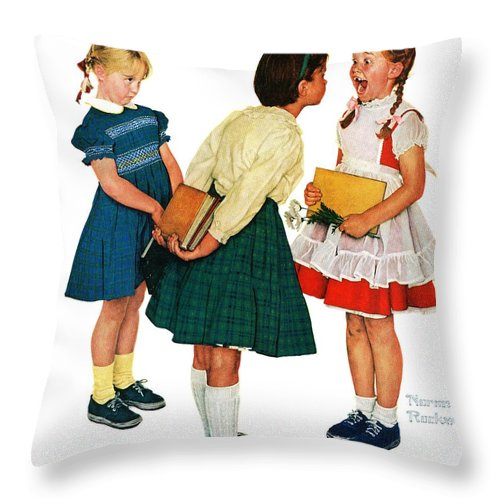 Books Throw Pillow featuring the drawing Missing Tooth by Norman Rockwell