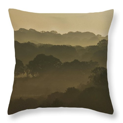 Mist Throw Pillow featuring the photograph Mist Across The Valley by Jason Jones