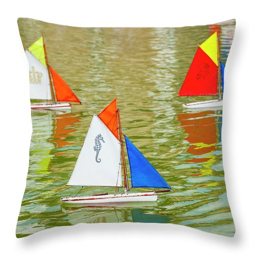 Sailboat Throw Pillow featuring the photograph Model Sailboats In Pond, Paris by Stuart Dee