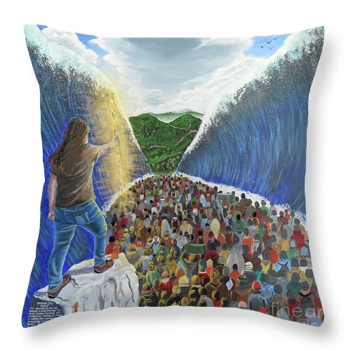 Refugee Throw Pillow featuring the painting Modern Moses by The Hope Project Moria Refugees