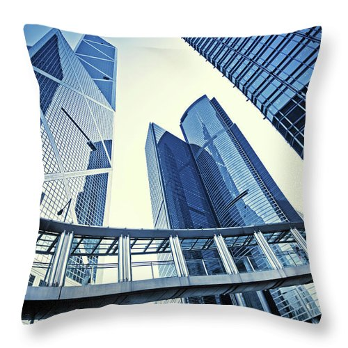 Corporate Business Throw Pillow featuring the photograph Modern Office Buildings by Nikada