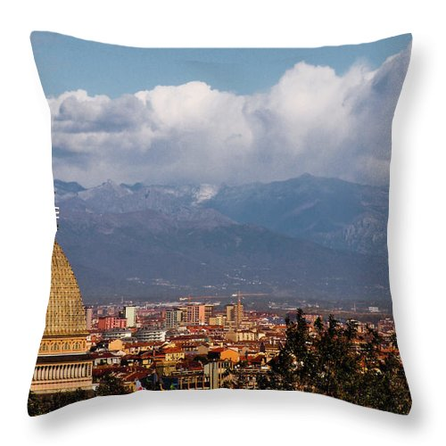 Built Structure Throw Pillow featuring the photograph Mole Antonelliana, Torino And Alps by Rodolfo Rodríguez Castro