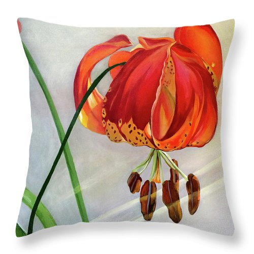 Painting Throw Pillow featuring the painting Moment in the Sun - Lily by Mary Chant