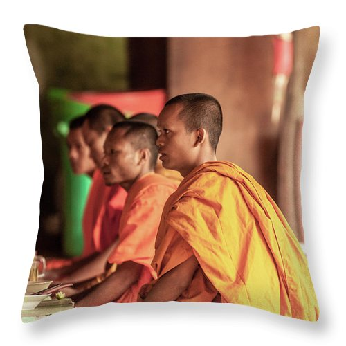 Young Men Throw Pillow featuring the photograph Monks At Breakfast, Wat Monastery by Cultura Rm Exclusive/gary Latham