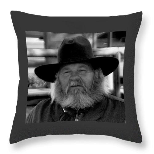 Mono Throw Pillow featuring the photograph Mono Cowboy by John Hughes