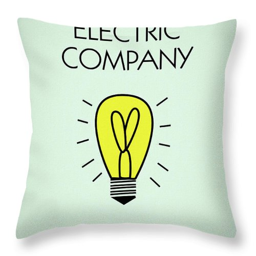 Monopoly Electric Company Throw Pillow featuring the mixed media Monopoly Electric Company by Dan Sproul