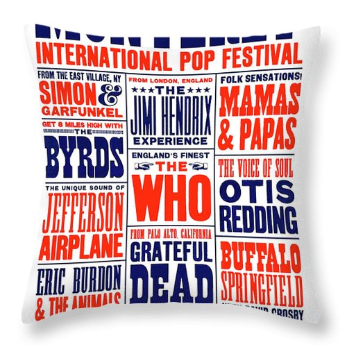 Monterey Pop Festival Throw Pillow featuring the mixed media Monterey Pop Festival, poster by Thomas Pollart