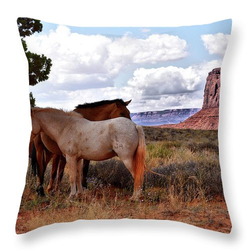 Monument Valley Throw Pillow featuring the photograph Monument Valley Horses On The Valley Floor 01 by Thomas Woolworth