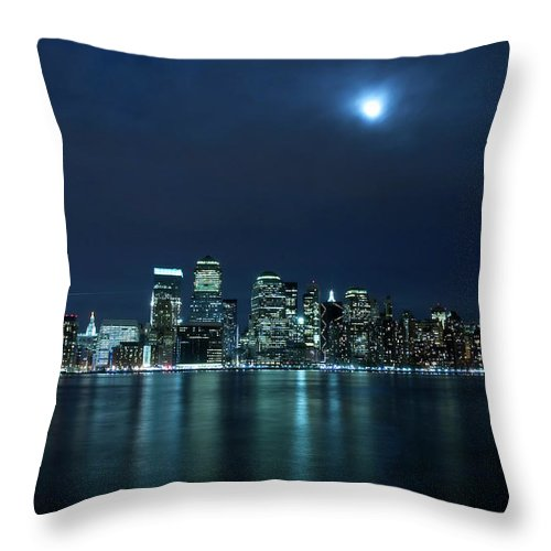Lower Manhattan Throw Pillow featuring the photograph Moon Light Over New York City by Brandonj74