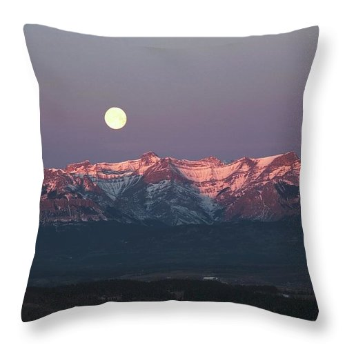 Front Range Throw Pillow featuring the photograph Moon Set Over Front Range Mountains by Design Pics / Michael Interisano