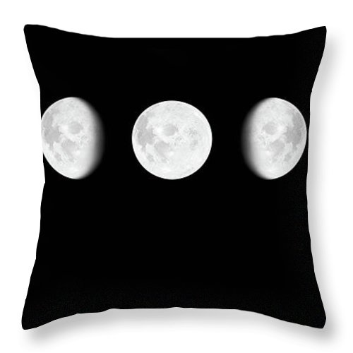 Sequential Series Throw Pillow featuring the photograph Moon Surface With Different Phases Xxxl by Cruphoto
