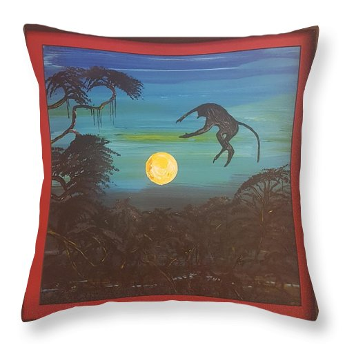 Moonlight Baboon Throw Pillow featuring the photograph Moonlight Baboon by Quintus Curtius