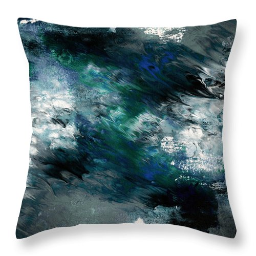 Abstract Throw Pillow featuring the painting Moonlight Ocean- Abstract Art By Linda Woods by Linda Woods