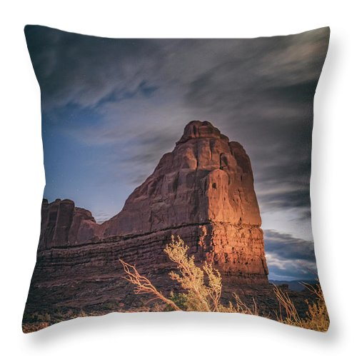 Moon Throw Pillow featuring the photograph Moonrise In Utah by Marybeth Kiczenski