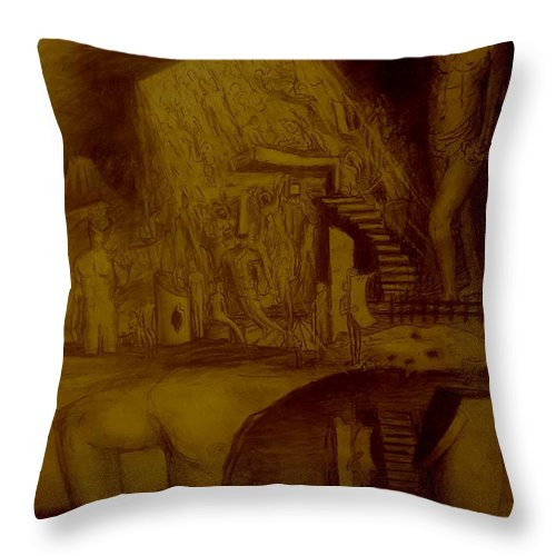 Throw Pillow featuring the drawing Moral and Ethical prejudice, as above so below by Jude Darrien