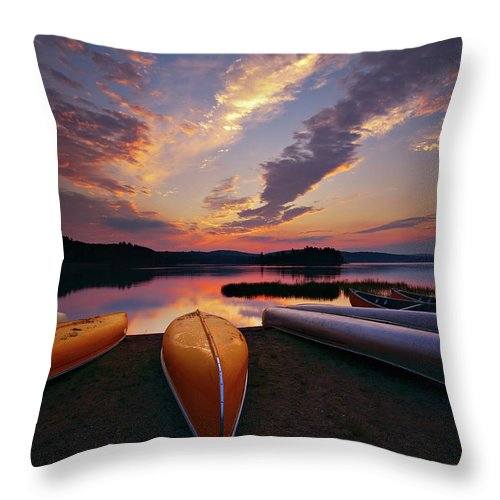 Tranquility Throw Pillow featuring the photograph Morning At Lake Of The Two Rivers by Henry@scenicfoto.com