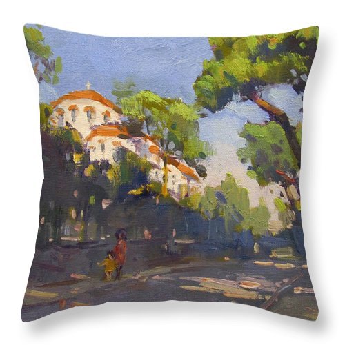 Morning Throw Pillow featuring the painting Morning Sunlight Athens by Ylli Haruni
