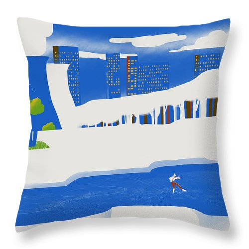 People Throw Pillow featuring the digital art Moscow December by Sergey Maidukov