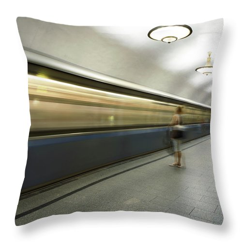 People Throw Pillow featuring the photograph Moscow Metro by Fmajor