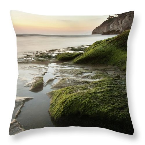 Pismo Beach Throw Pillow featuring the photograph Mossy Rocks At Pismo Beach by Kevinruss