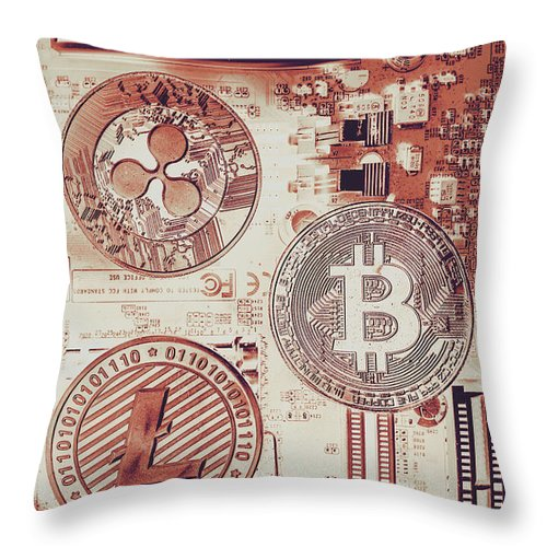 Technology Throw Pillow featuring the photograph Motherboard Money by Jorgo Photography - Wall Art Gallery