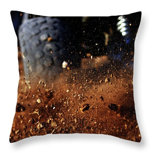 Outdoors Throw Pillow featuring the photograph Motorbike On Dirt Road, Close Up by Yaniv Ben Simon - Photography & Design