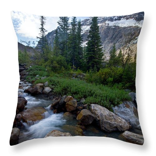 Tranquility Throw Pillow featuring the photograph Mount Edith Cavell by Visit Www.ronmiller.com