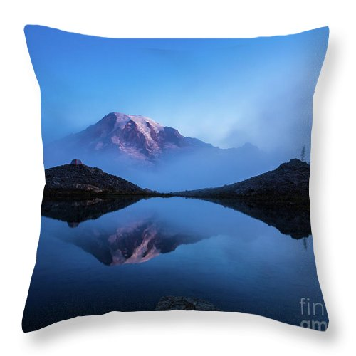 Rainier Throw Pillow featuring the photograph Mount Rainier In The Mist by Mike Reid