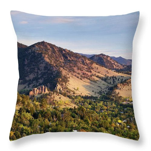 Scenics Throw Pillow featuring the photograph Mount Sanitas And Fall Colors In by Beklaus