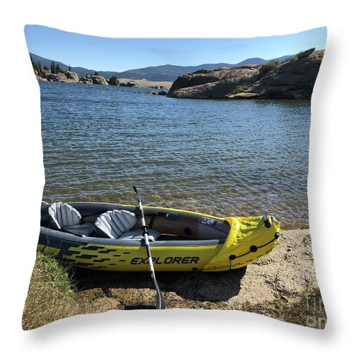 Yellow Kayak Throw Pillow featuring the photograph Mountain Kayaking by Nadine Rippelmeyer