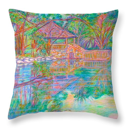 Lake Throw Pillow featuring the painting Mountain Lake Reflections by Kendall Kessler