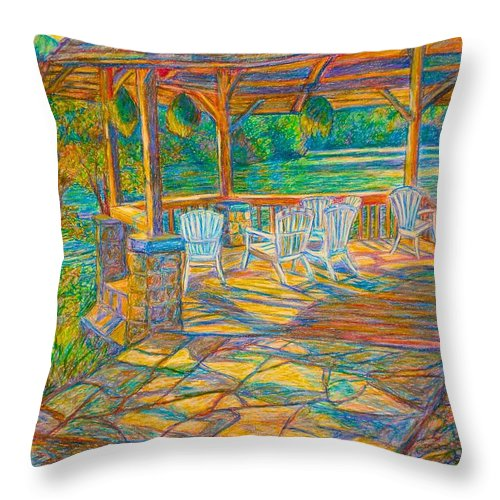 Lake Throw Pillow featuring the painting Mountain Lake Shadows by Kendall Kessler