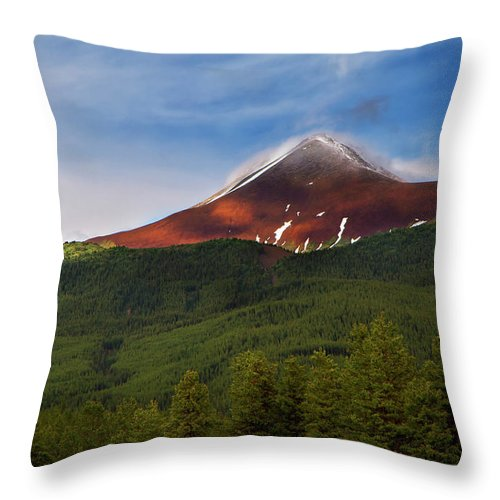 Scenics Throw Pillow featuring the photograph Mountain Peak - Jasper National Park by Adria Photography